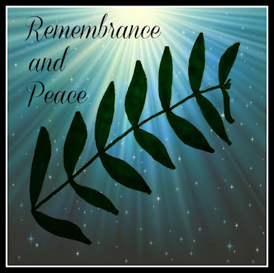 Olive branch graphic with Remembrance and Peace text