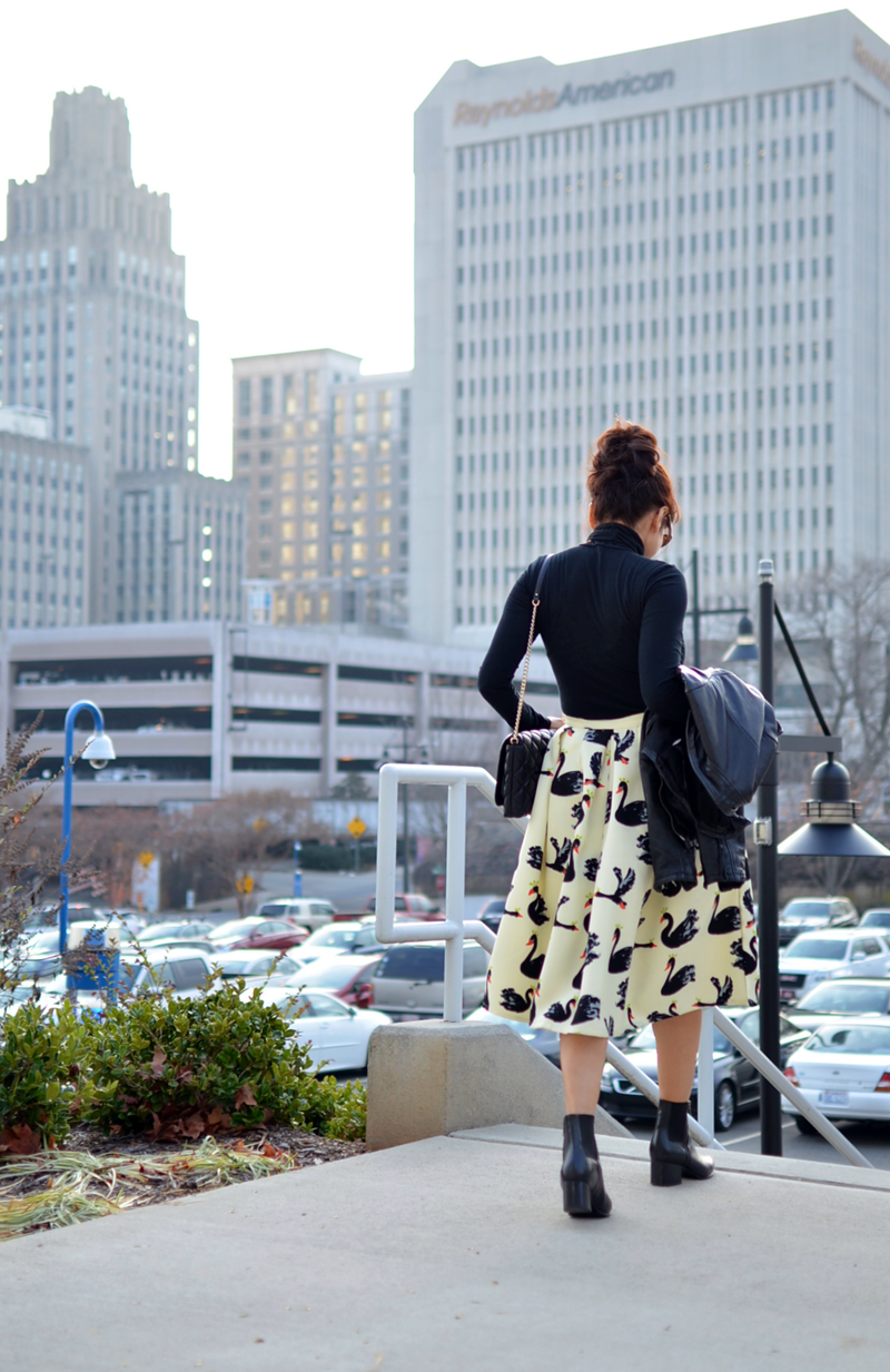 Outfit printed midi skirt