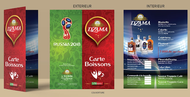 carte de bar cocktail Coupe du Monde 2018 Russia pour les rhums Dzama
