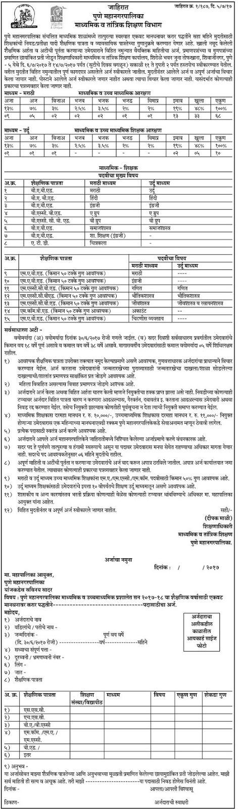 PMC Pune Mahanagar Palika Shikshak Bharti Secondary Teachers Peon Recruitment