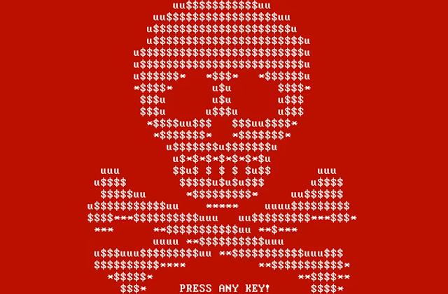 Schermata visualizzata al boot dalla prima versione di Petya
