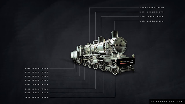 Timeline Infographic Elements with Locomotive in Black Background Slide 2