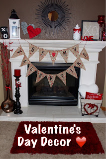 Valentine's Day decor and mantel