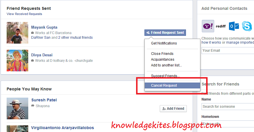 Cancel pending friend request in facebook account