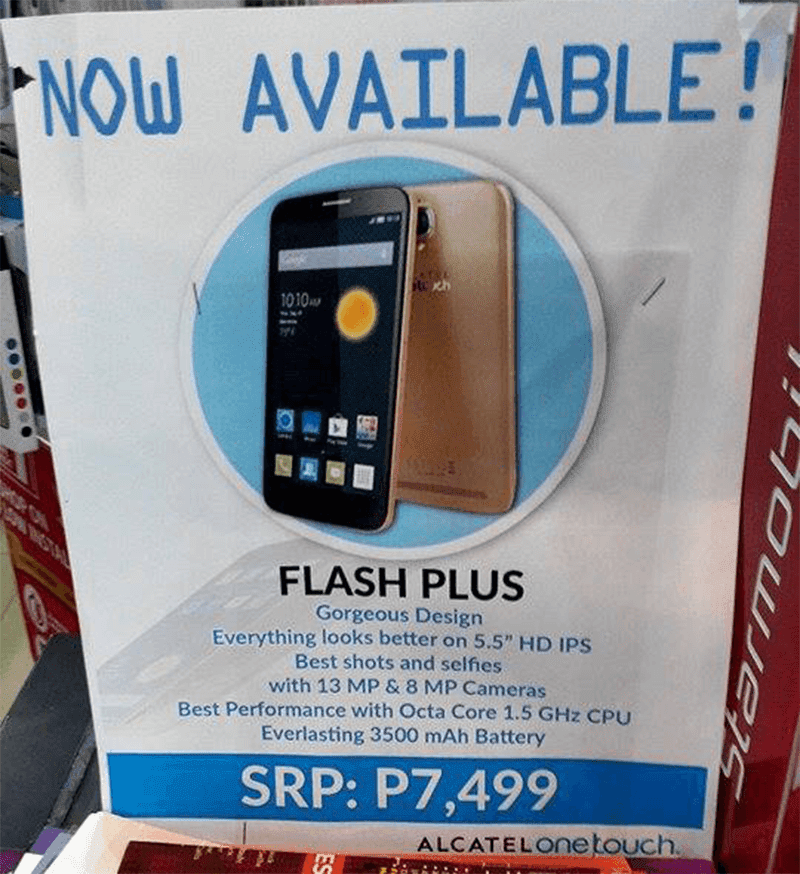 Alcatel Flash Plus Spotted On Retail Stores, Priced High At 7499 Pesos!