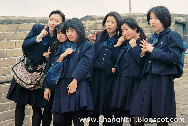 Japanese girls on the Great Wall