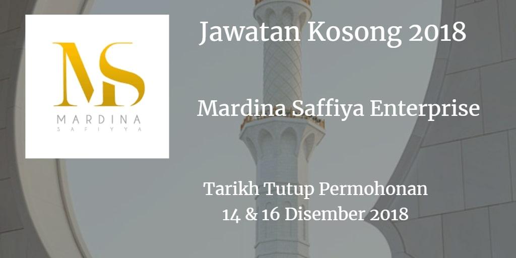Jawatan Kosong Mardina Saffiya Enterprise 14 & 16 Disember 2018