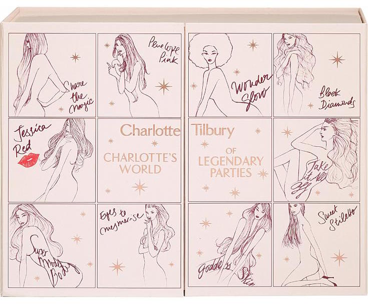 Contents of the Charlotte Tilbury World Of Legendary Parties Beauty Advent Calendar 2016