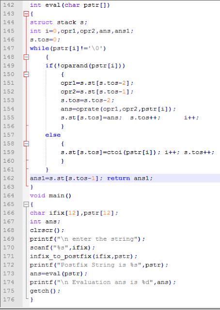 infix program in c