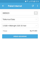 Tampilan Aplikasi Halaman Isi Paket Data