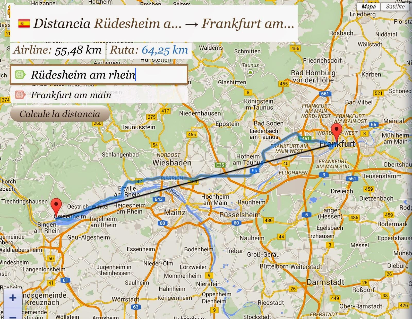 distancia entre frankfurt e rudesheim