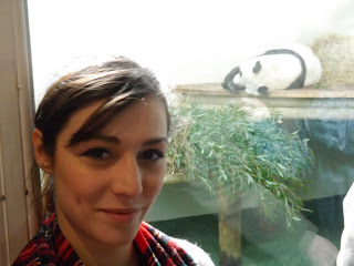 A person posing in front of a panda sleeping.
