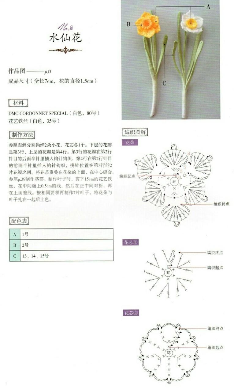 Нарциссы крючком. Схемы вязания