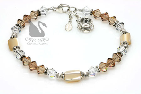 Mother of Pearl Caramel Latte Coffee Crystal Charm Bracelet (B193)