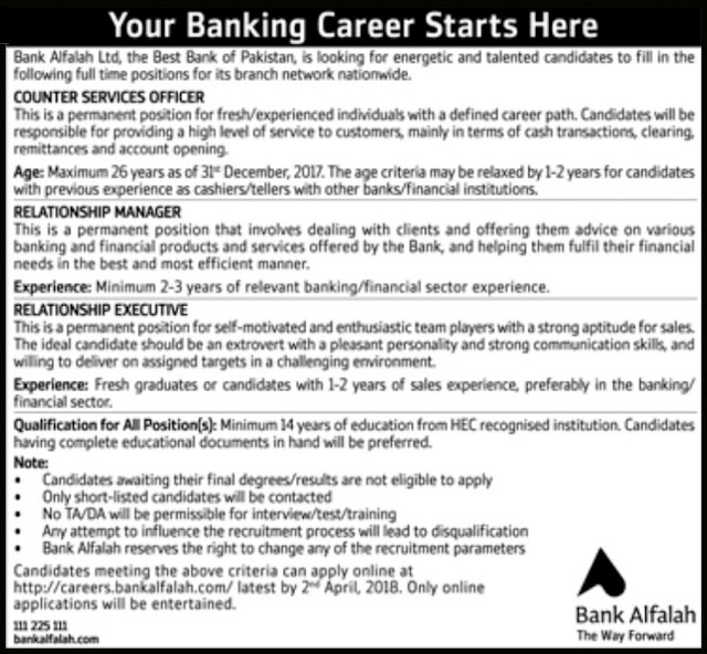 Bank Alfalah Jobs 2018