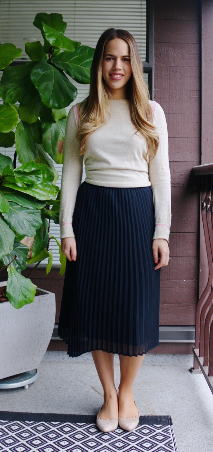 Jules in Flats - Midi Skirt with Lightweight Sweater for Early Spring