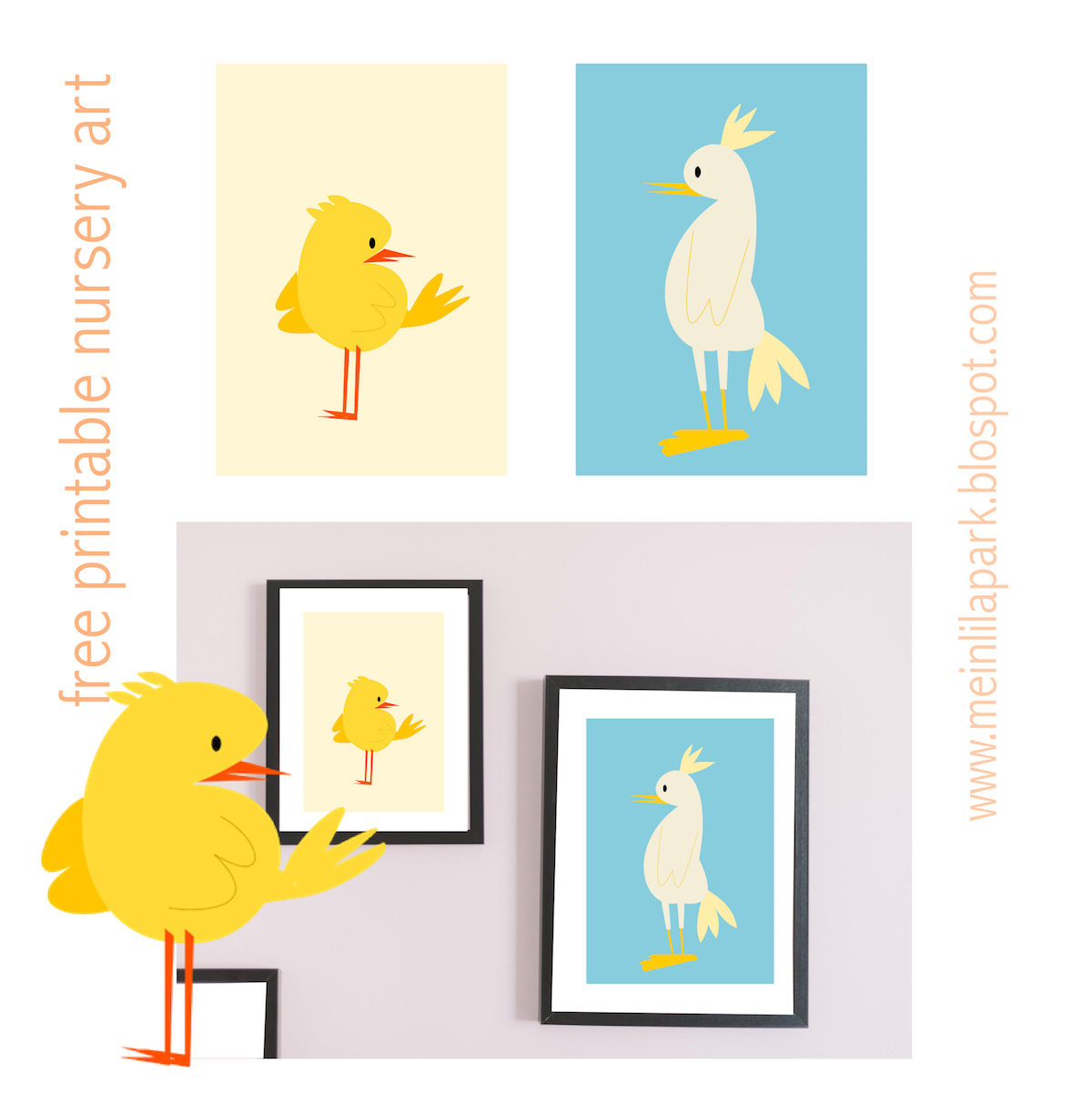 picture about Free Printable Nursery Art titled Totally free printable nursery wall artwork : little one chook
