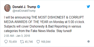 Trump sets date, time for fake news awards moments after threatening nuclear war