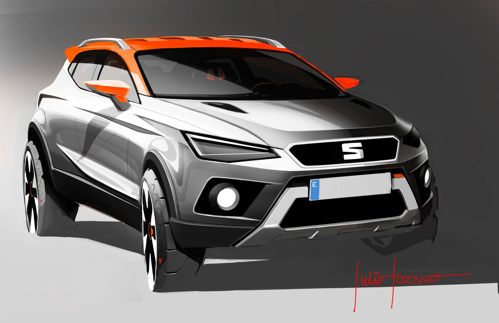 Seat Arona sketch by Julio Lozano showing the front grille