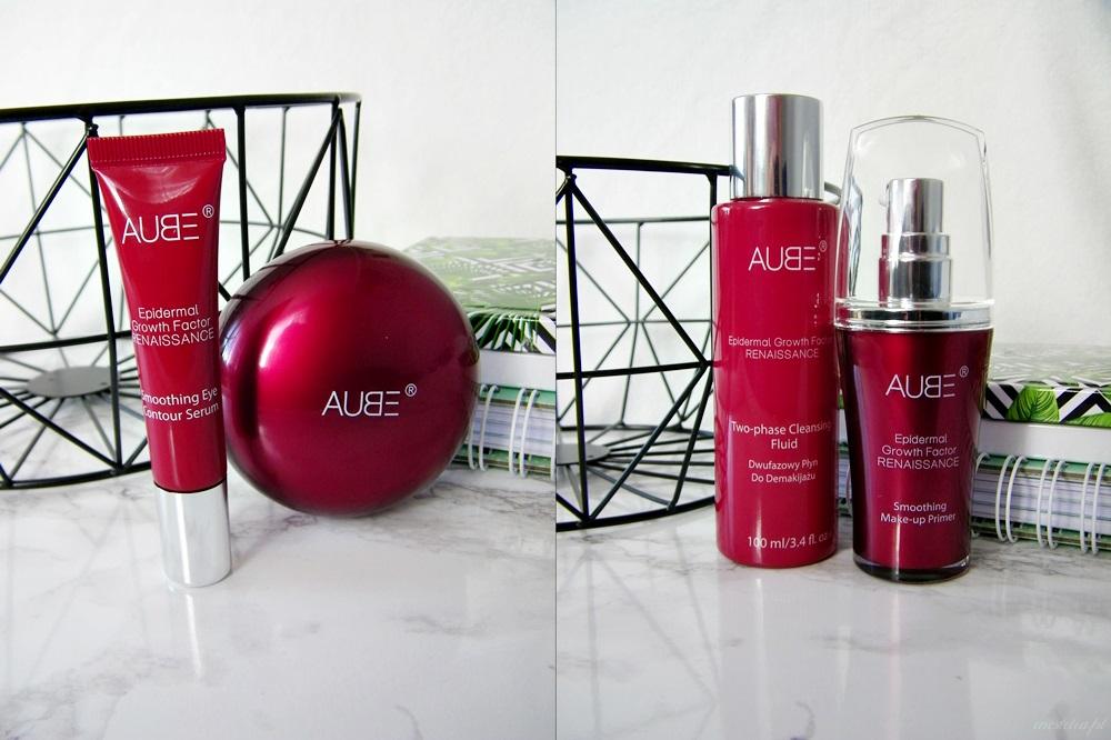 AUBE - regenerujący krem na dzień, wygładzające serum pod oczy, baza pod makijaż oraz dwufazowy płyn do demakijażu