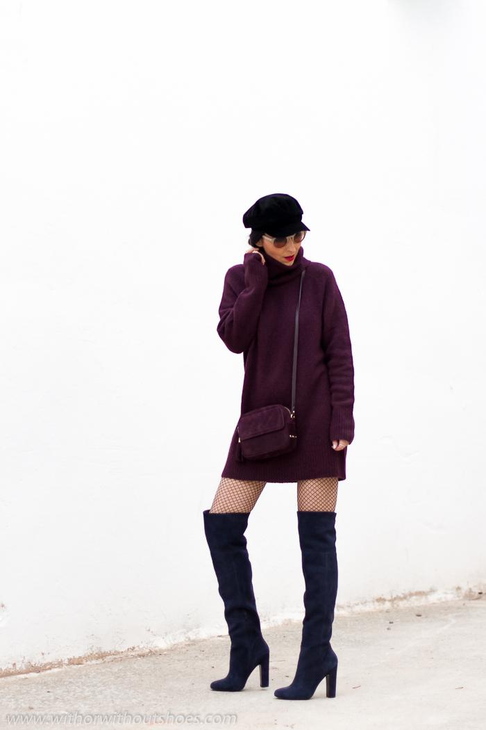 Look blogger moda valenciana Cómo combinar un Vestido de lana Botas Over the knee y gorra marinera baker boy