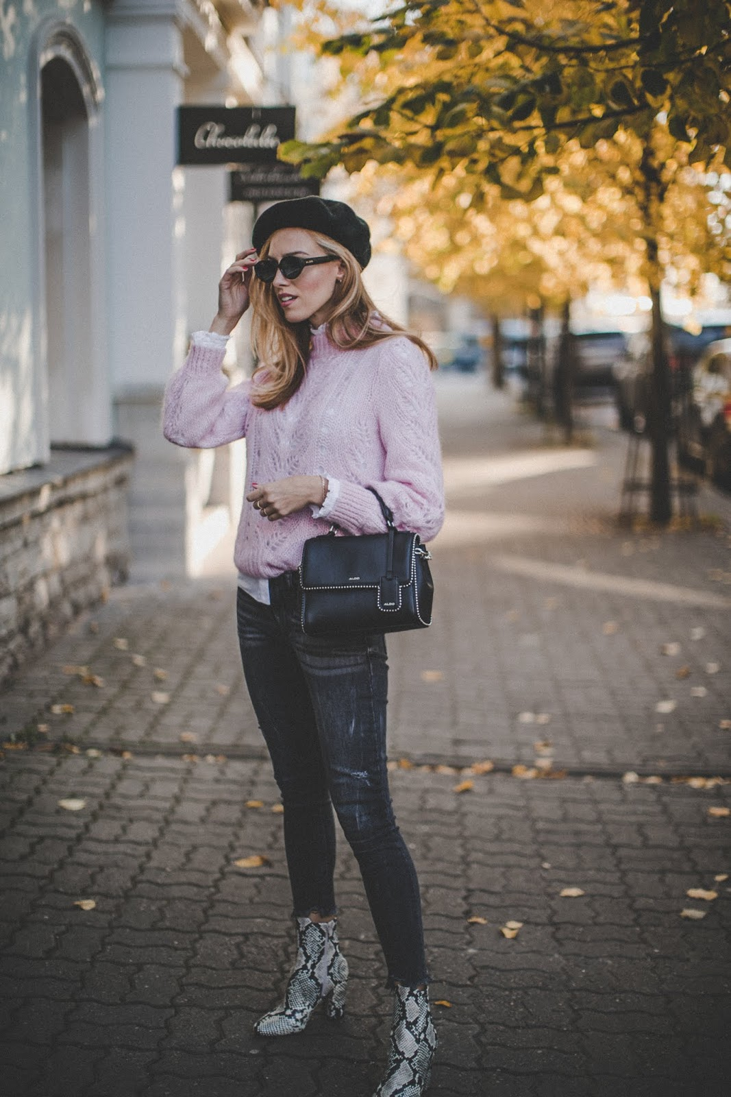 beret hat knit jumper black jeans snake boots fall outfit street style