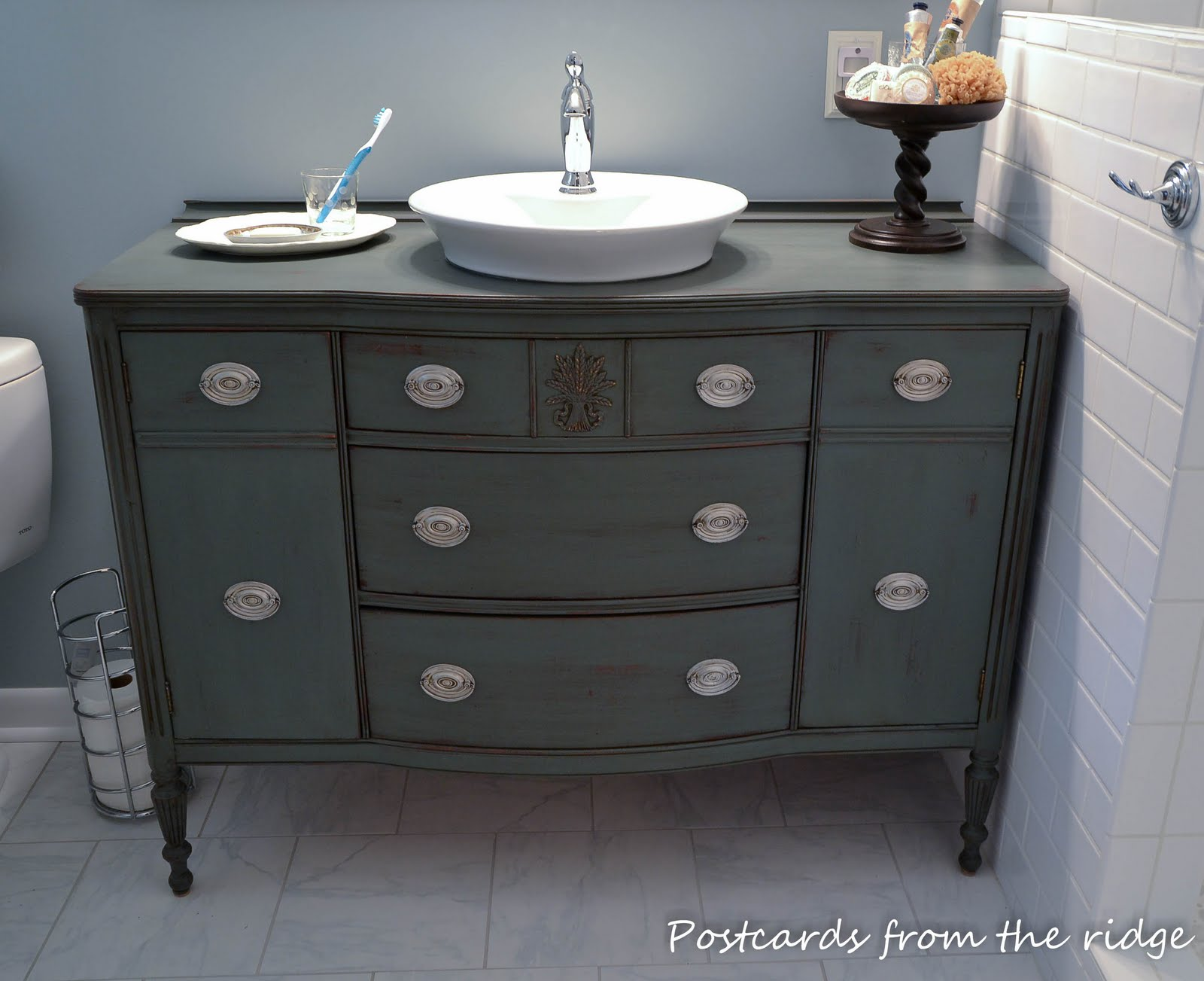 Bathroom Inspiration ~ Open Shelf Vanity Postcards from the Ridge