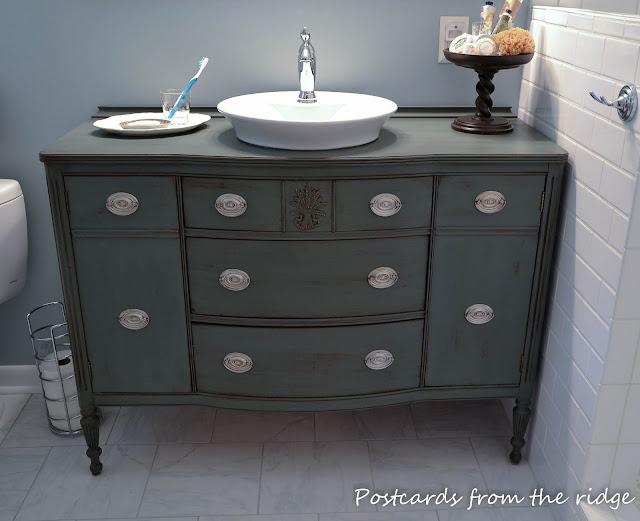 Postcards from the Ridge: Use a dining room buffet for a bathroom vanity.
