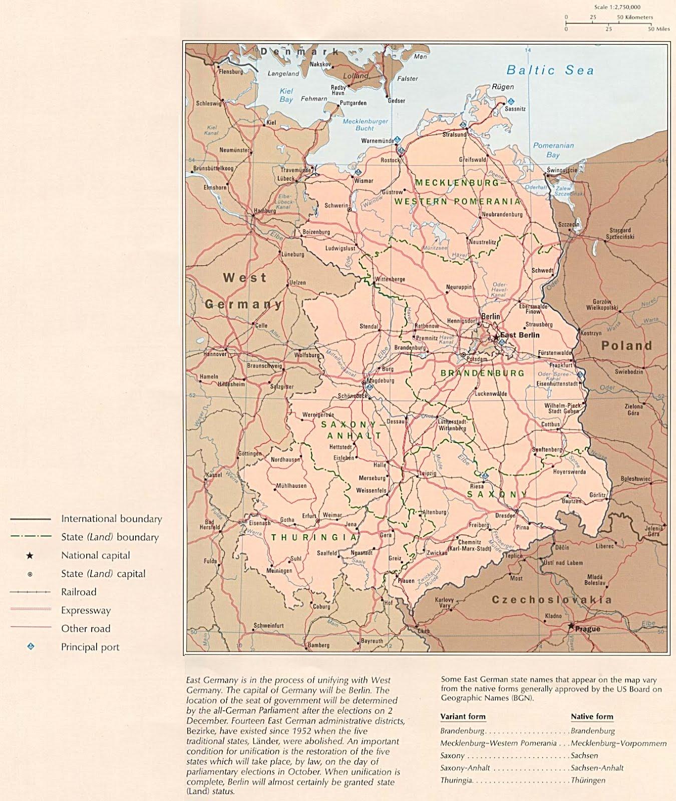Kaart Duitsland En Bondslanden Kaart Oost Duitsland Ddr En Oost