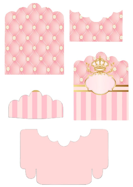 Golden Crown in Pink: Free Printable Candy Package Support.