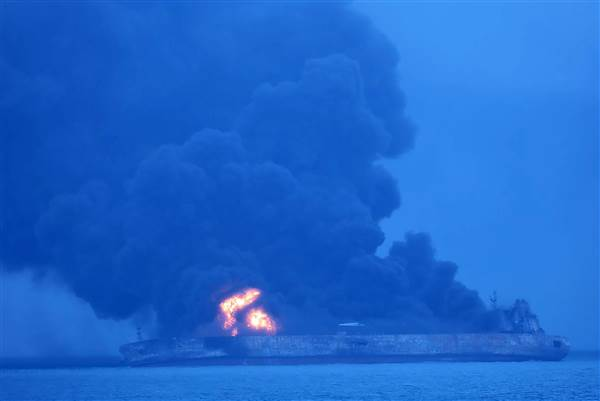 Iranian oil tanker burns