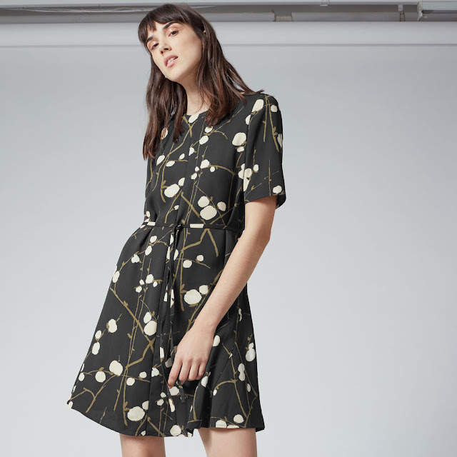 warehouse tea dress, black white spot dress