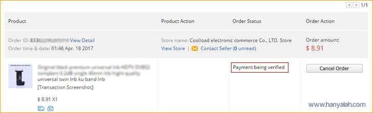Daftar status Order barang yang dibeli