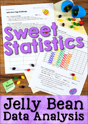 Jelly Bean Egg Challenge is a sweet statistics lesson that requires students to measure, estimate, collect, compile, and graph jelly bean data in order to analyze it and draw conclusions.Give each student a plastic egg filled with an assortment of jelly beans, and let the fun (and learning) begin!