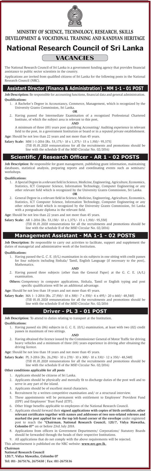 Assistant Director - Finance & Administration - Scientific - Research Officer - Management Assistant - Driver