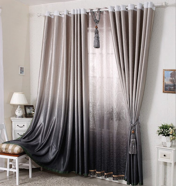 Ombre grey peach modern curtain ideas with sheer fabric base with tussles