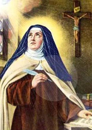 Dibujo de Santa Teresa de Avila siendo iluminada