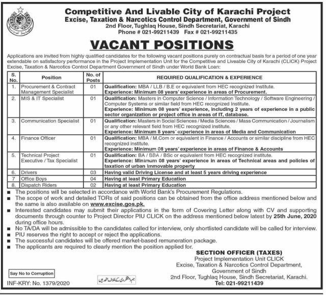 Jobs in Excise, Taxation and Narcotics Control Department 2020 Advertisement