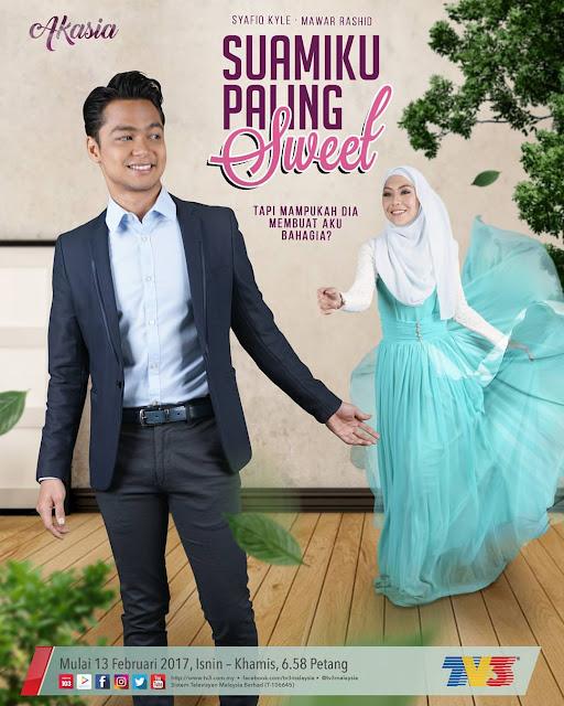 Poster Drama Suamiku Paling Sweet Lakonan Syafiq Kyle & Mawar Rashid