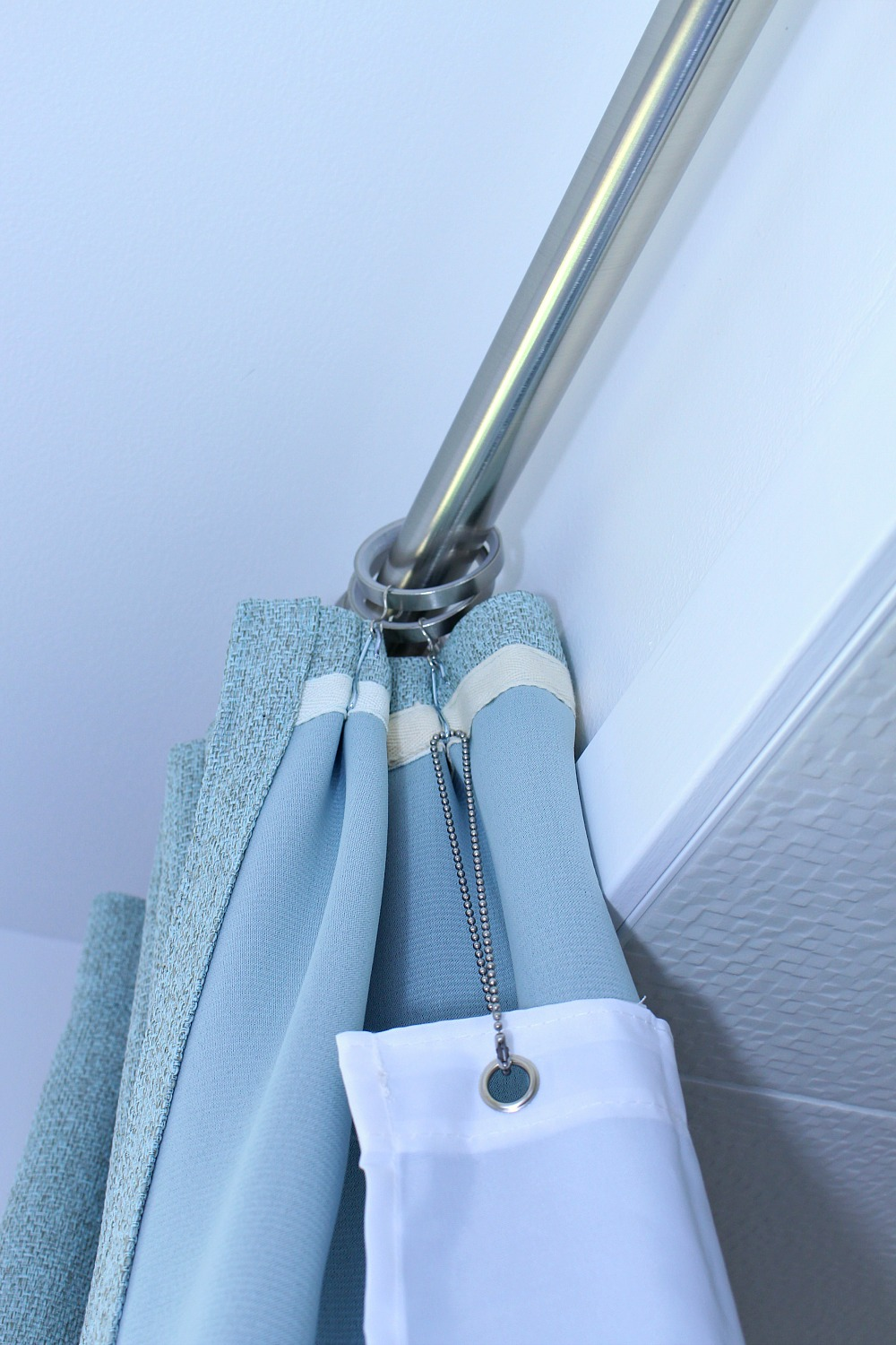Ceiling Mounted Shower Curtain Rod + Turquoise Tweed Pleated Shower Curtain  In Modern Bathroom Reno ...