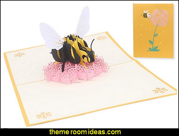 Bee Flower Greeting Cards Handmade Birthday Party Decorations Kids Invitation   bee themed party - bumble bee decorations - Bumble Bee Party Supplies - bumble bee themed party - Pooh themed birthday party - spring themed party - bee themed party decorations - bee themed table decorations - winnie the pooh party decorations - Bumblebee Balloon -  bumble bee costumes