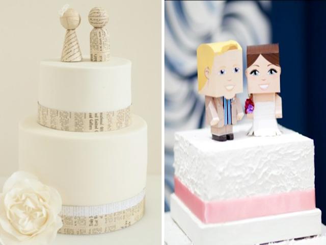 topo de bolo de papel casamento