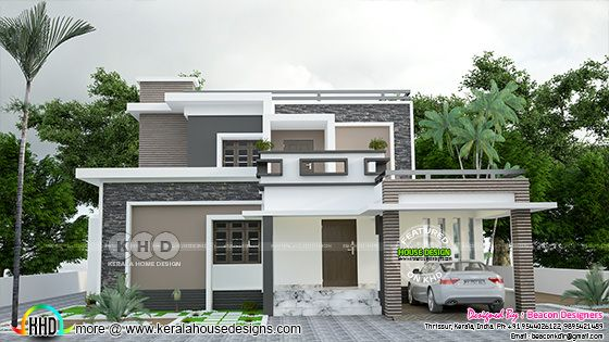 1745 square feet 4 bedroom flat roof house