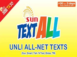 Sun Cellular TA30 – 30 Pesos for 3 Days Unlimited Text to All Networks