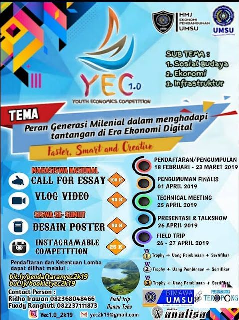 Event Youth Economics Competition (YEC 1.0) 2019 SMA Sederajat/Mahasiswa