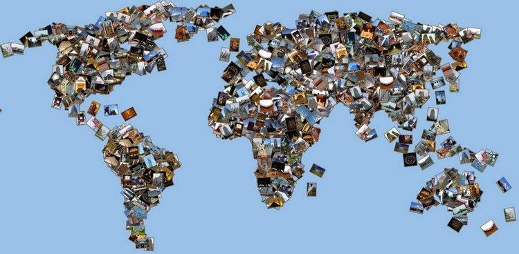 Hasil Penggunaan Shape Collage, Foto Kolase Berbentuk Peta Dunia