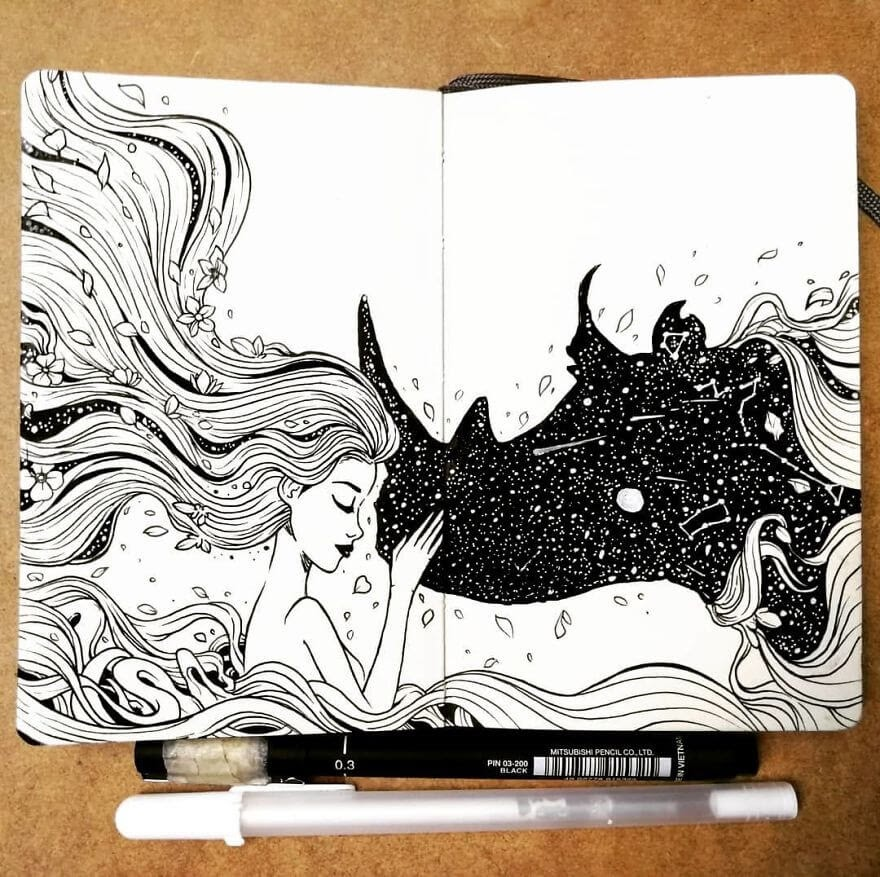09-Goodbye-Rhino-Bráulio-Monteiro-Moleskine-Pen-and-Ink-Animal-Illustrations-www-designstack-co