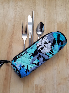 Homemade zero waste cutlery kit with reusable silverware and straw