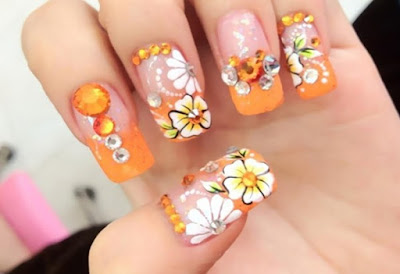 Easy and simple flower nail art designs