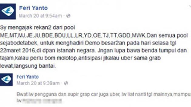 Terungkap!!! Ajakan Sopir Taksi untuk Membawa Bom Molotop yang Beredar Di Facebook